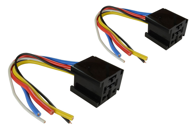 2 lot temco 12 v 60 70 80 amp bosch style s relay harness socket for use bosch style relays contact rating up to 60 70 80 a 14 vdc coil voltage 6 24 vdc wire configuration 5 wires for spdt relay wire size