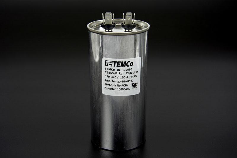 temco 100 mfd uf run capacitor 440 vac volts ac motor hvac