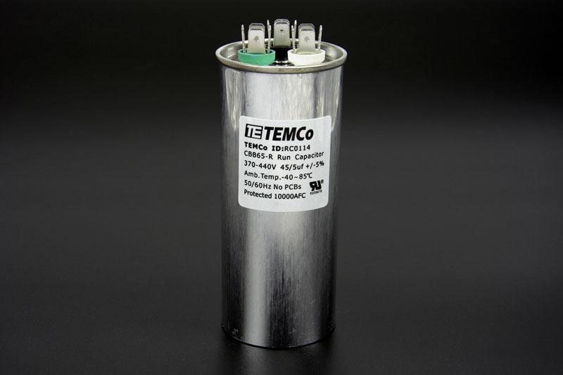 temco 45 5 mfd uf dual run capacitor 370 440 vac volts ac capacitor wire diagram