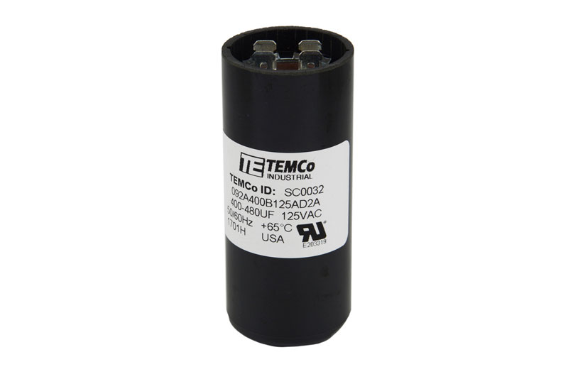 uf (mfd): 400-480  voltage: 110-125 vac frequency: 50/60 hz temperature  range: -40 to +65°c tolerance: -0% / +20% pcbs: no format: round