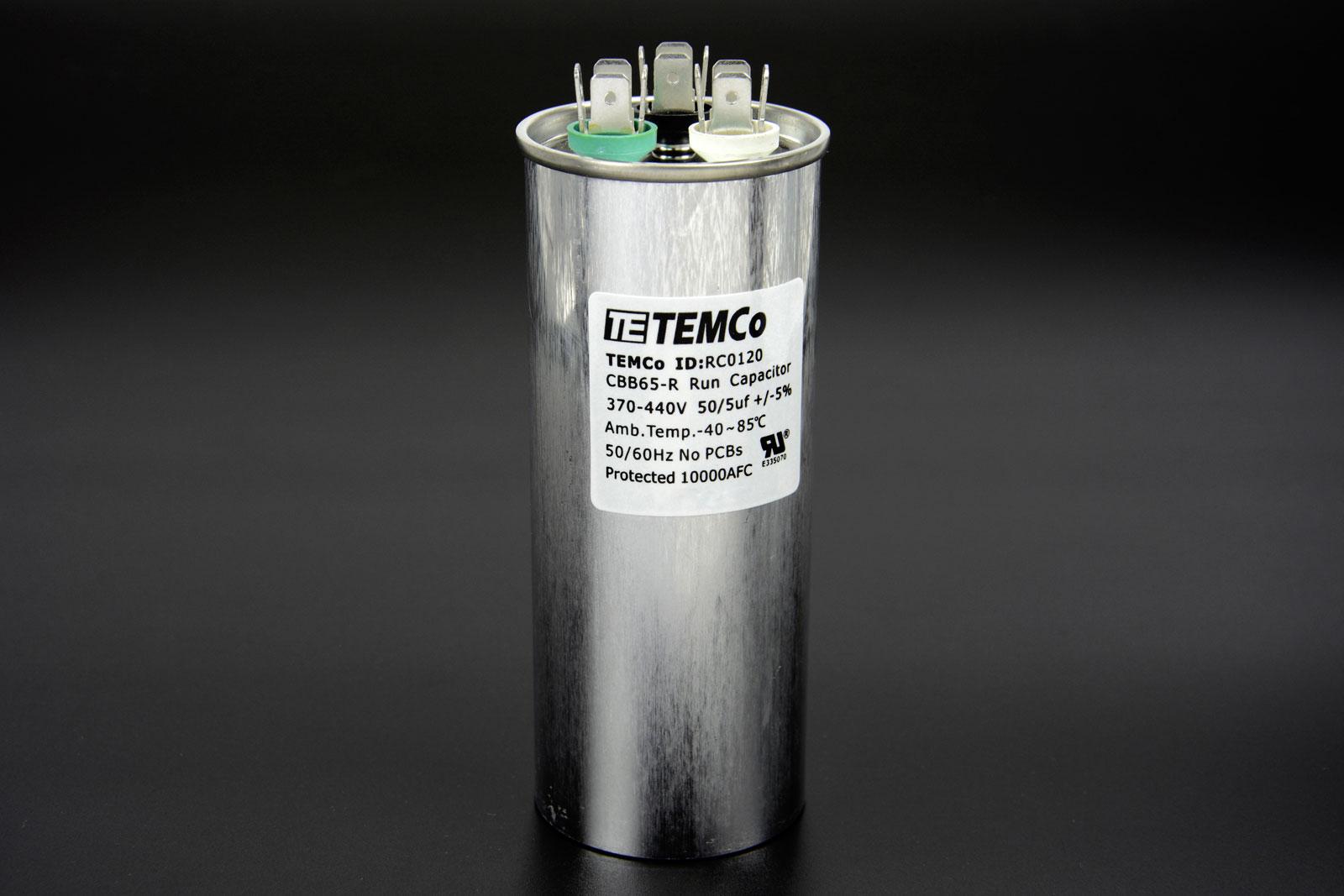Temco 50 5 Mfd Uf Dual Run Capacitor 370 440 Vac Volts Ac