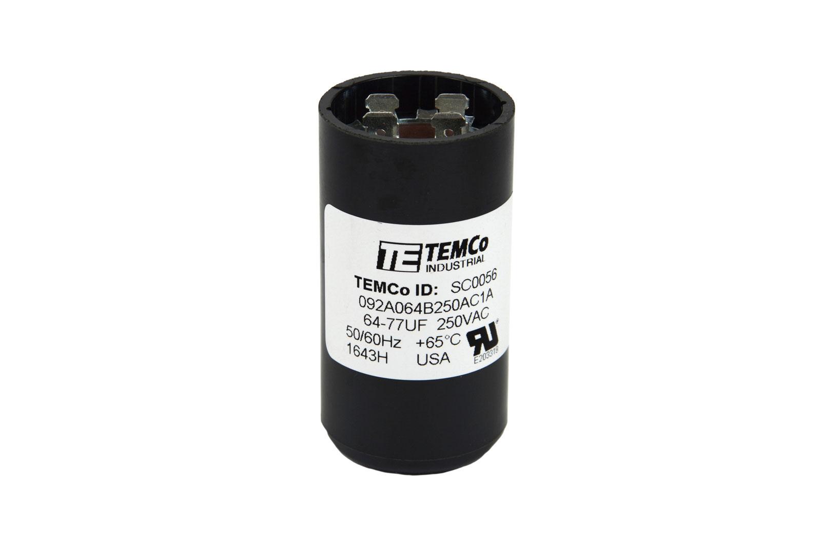 Temco 64 77 mfd uf electric motor start capacitor 220 250v for Capacitors for electric motors