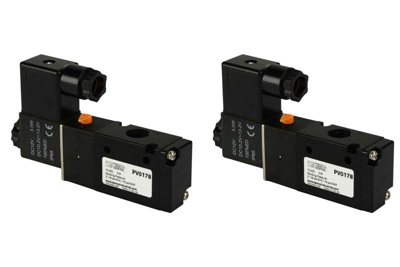 2 Qty 12V DC Solenoid Air Pneumatic Control Pilot Valve 3 Port 3 Way 2 Position 1//8 NPT