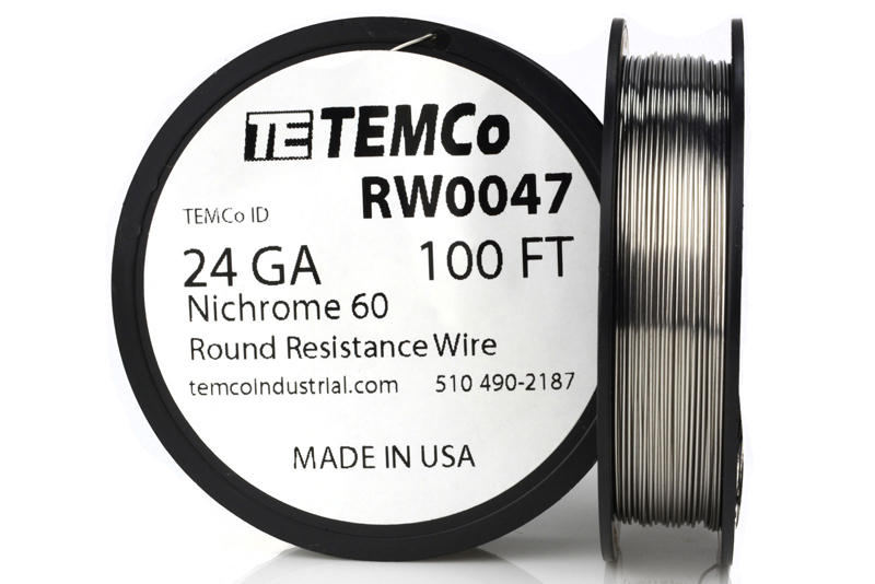 Temco nichrome 60 series wire 24 gauge 100 ft resistance awg ga ebay temco id rw0047 alloy nichrome 60 60 ni 16 cr 24 fe gauge 24 awg average wire diameter 00201 in 051054 mm weight 181 oz length 100 ft keyboard keysfo Images