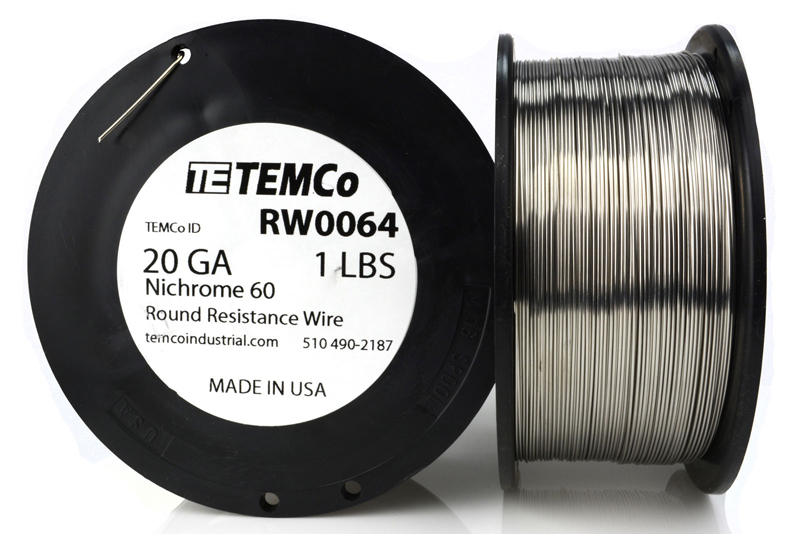Temco nichrome 60 series wire 20 gauge 1 lb 347 ftresistance awg temco id rw0064 alloy nichrome 60 60 ni 16 cr 24 fe gauge 20 awg average wire diameter 0032 in 08128 mm weight 1 lb length 347 ft keyboard keysfo Image collections