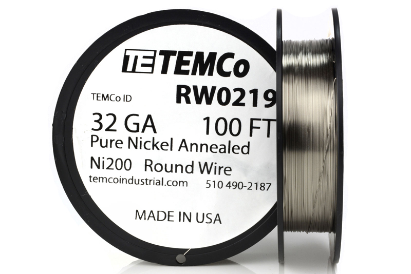 TEMCo Pure Nickel Wire 32 Gauge 100 Ft non resistance AWG Ni200 ...